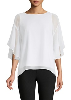 DKNY Quarter-Sleeve Ruffled Top
