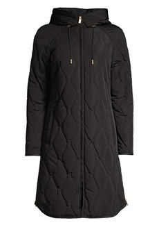 DKNY Quilted Tech Weave Hooded Coat
