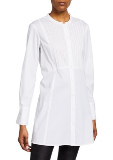 DKNY Ribbed Button-Down Tunic Blouse