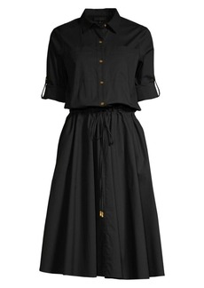 DKNY Roll-Sleeve Fit-&-Flare Shirt Dress