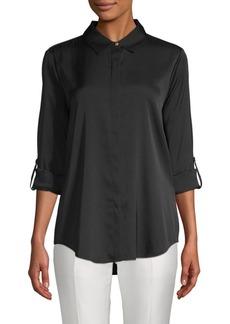 DKNY Rolled-Sleeve Stretch-Silk Button-Down Shirt