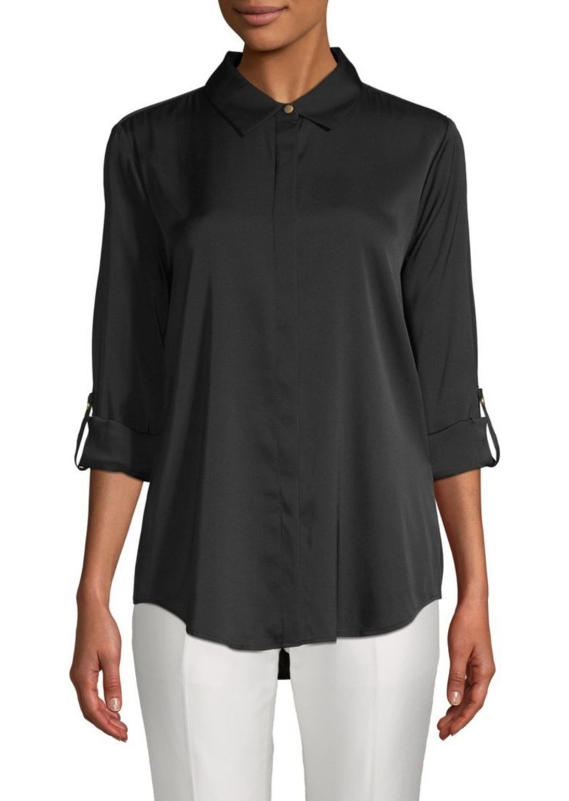 DKNY Rolled-Sleeve Stretch-Silk Button-Down Shirt