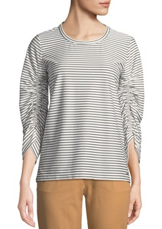 DKNY Ruched-Sleeve Crewneck Top