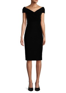 DKNY Ruched-Sleeve Knee-Length Sheath Dress