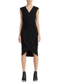 DKNY Ruched V-Neck Dress