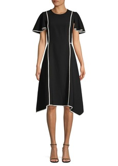DKNY Ruffle Sleeve A-Line Dress