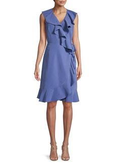 DKNY Ruffle Tie Wrap Dress