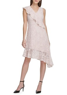 DKNY Asymmetric Lace Midi Dress