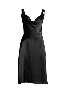 DKNY Satin Cowl Neck Dress