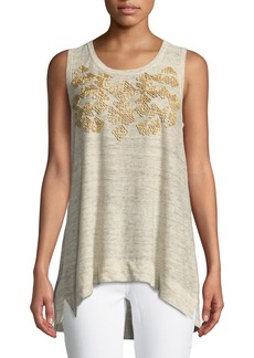 DKNY Scoop-Neck Sleeveless Linen Top w/ Beading