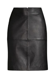 DKNY Seamed Leather A-Line Skirt