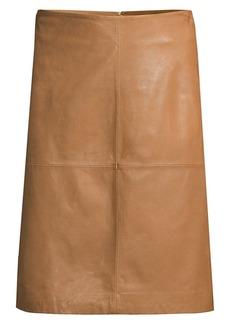 DKNY Seamed Leather A-Line Skirt