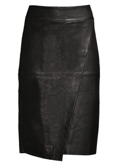 DKNY Seamed Leather Pencil Skirt