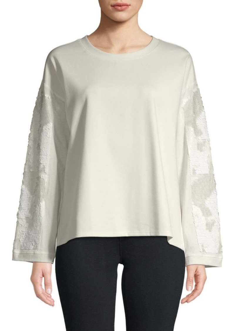 DKNY Sequin-Sleeve Boxy Top