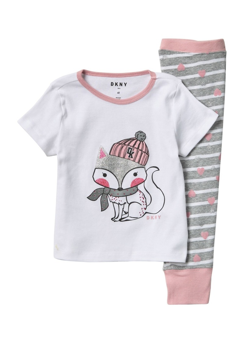 DKNY Short Sleeve Cotton Pajamas (Toddler Girls)