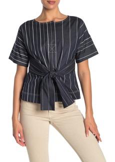 DKNY Short Sleeve Front Tie Top