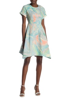 DKNY Short Sleeve Printed Fit & Flare Dress