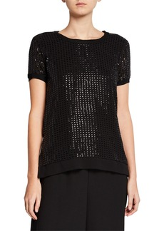 DKNY Short-Sleeve Sequin Blouse