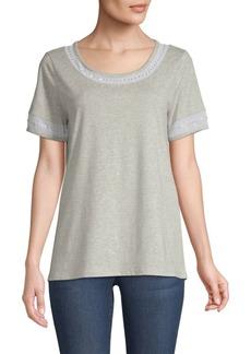 DKNY Short-Sleeve Sequin Cotton Top