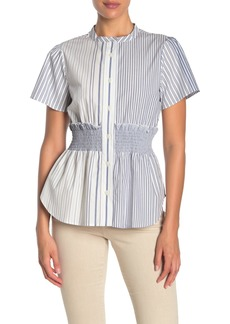DKNY Short Sleeve Stripe Blouse