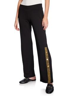 DKNY Side-Snap Striped Pants