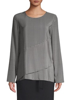 DKNY Silk Houndstooth Top