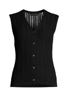 DKNY Sleeveless Button-Front Loose-Weave Knit Top