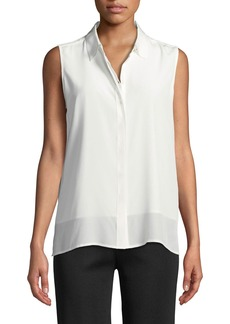 DKNY Sleeveless Button-Front Step-Hem Blouse