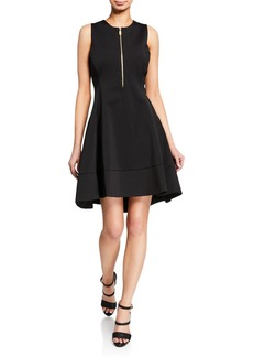 DKNY Sleeveless Fit-and-Flare Asymmetrical Dress