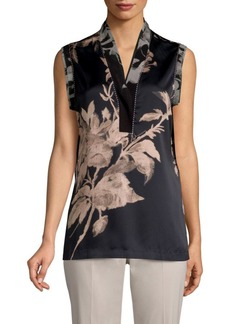 DKNY Sleeveless Floral Blouse