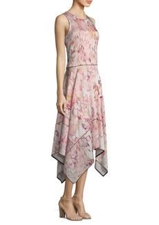 DKNY Sleeveless Hi-Lo Floral-Print Dress