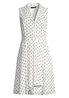 DKNY Sleeveless Polka Dot Fit-&-Flare Shirtdress