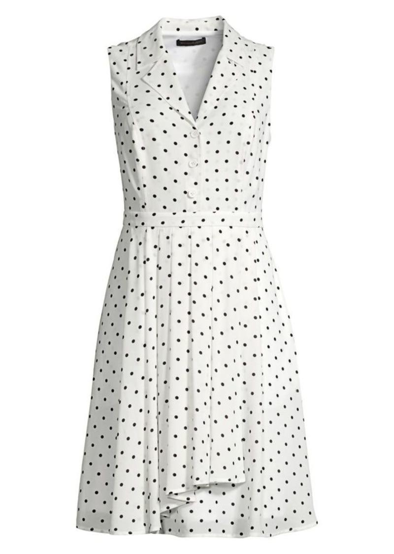 DKNY Sleeveless Polka Dot A-Line Shirtdress