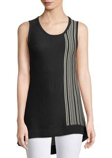 DKNY Sleeveless Side-Striped Sweater