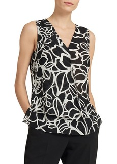 DKNY Sleeveless V-Neck Printed Top