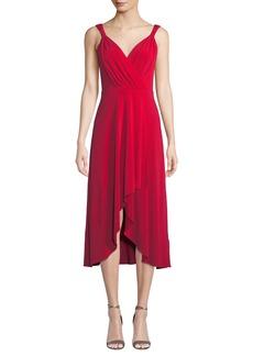 DKNY Sleeveless Wrap-Front High-Low Dress