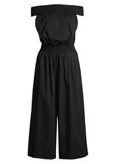 DKNY Smocked Off-The-Shoulder Jumpsuit