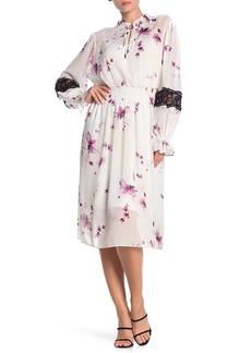 DKNY Smocked Waist Floral Print Midi Dress