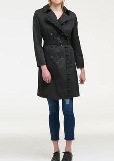 DKNY Solid Ruffled Double-Breasted Trench Coat
