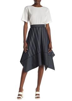 DKNY Stripe Handkerchief Hem Skirt