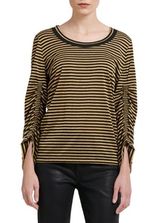 DKNY Striped Cinched Sleeve Tee