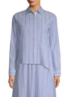 DKNY Striped Eyelet Cotton Button-Down Shirt