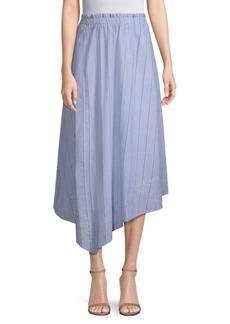DKNY Striped Eyelet Cotton Midi Skirt