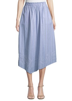 DKNY Striped Eyelet-Embroidered Cotton A-Line Skirt