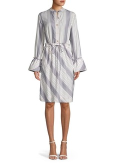 DKNY Striped Knee-Length Shirtdress
