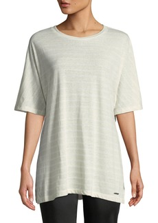 DKNY Striped Linen-Blend Draped Tee