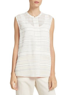 DKNY Striped Sleeveless Henley Top