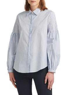 DKNY Striped Stretch-Cotton Button-Down Shirt