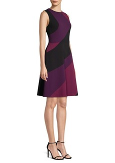DKNY Swirl Panel Flared Dress