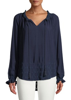 DKNY Tassel-Neck Long-Sleeve Eyelet Embroidered Blouse